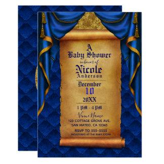 Carte Le bleu royal et l'or drape le baby shower de