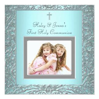 Carte Le bleu turquoise jumelle la première communion de