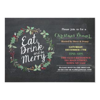 Carte Le dîner de Noël mangent la boisson et soient