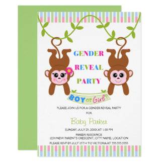Carte Le genre de singe de garçon ou de fille indiquent