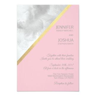 Carte Le gris d'aquarelle rougissent mariage rose de