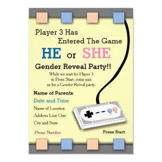 Carte Le joueur de Gamer genre de 3 baby showers