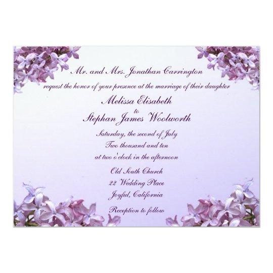 Carte Le lilas floral fleurit le mariage
