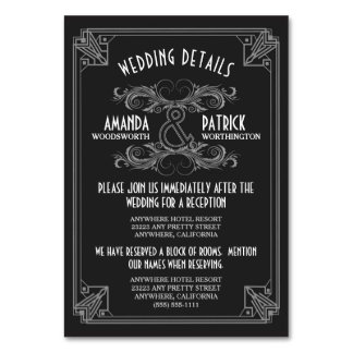 Carte Le mariage noir vintage d'art déco insère des