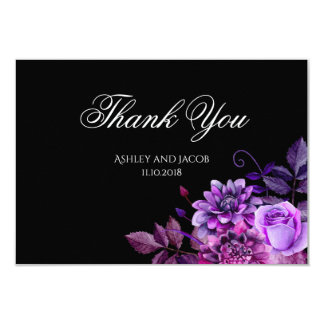 Carte Le mariage noir vous remercient les fleurs