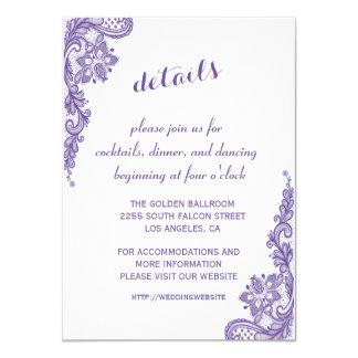 Carte Le mariage ultra-violet moderne de dentelle