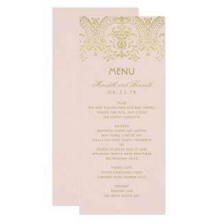 Carte Le menu de dîner de mariage carde le charme
