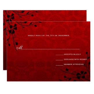 Carte Le noir tourbillonne mariage damassé métallique