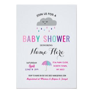 Carte Le nuage de baby shower arrosent la fille rose de