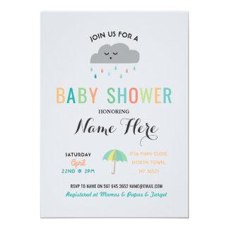 Carte Le nuage de baby shower arrosent le genre de