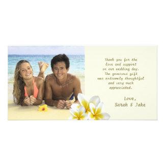 Carte Le Plumeria fleurit le Merci de photo de mariage