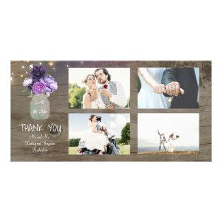 Carte Le pourpre fleurit le Merci rustique de mariage de