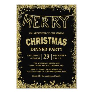 Carte Le scintillement d'or miroite dîner de Joyeux Noël