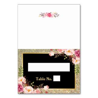 Carte Le scintillement floral rose d'or barre l'endroit