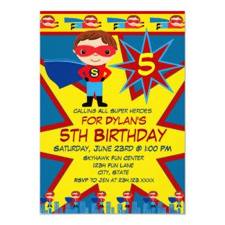 Carte Le super héros badine le bleu d'invitation de fête