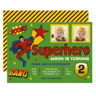 Carte Le super héros coloré badine l'invitation