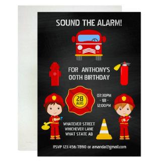 Carte Le tableau d'anniversaire de pompier ajoutent