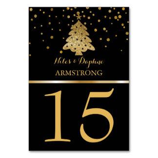 Carte Le Tableau de mariage de Noël numérote l'or noir