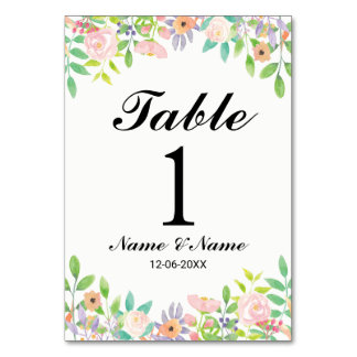 Carte Le Tableau numérote le mariage élégant floral pour