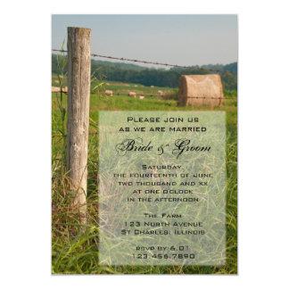 Carte Le vert pâture l'invitation de mariage campagnard