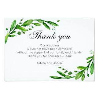 Carte Le vert vous remercient. Note botanique de mariage