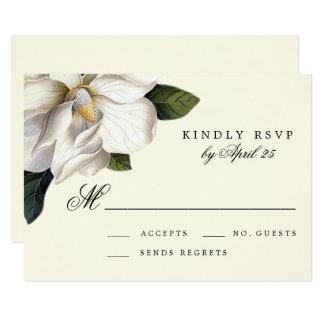 Carte l'épousant botanique de la magnolia du sud carton d'invitation 8,89 cm x 12,70 cm