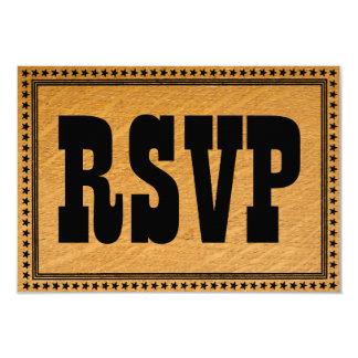 Carte l'épousant en bois brûlée occidentale de carton d'invitation 8,89 cm x 12,70 cm