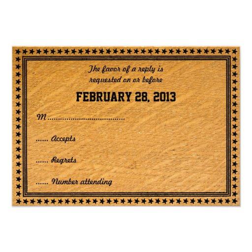 Carte l'épousant en bois brûlée occidentale de RSV Cartons D'invitation Personnalisés