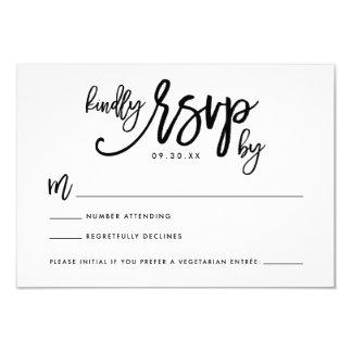 Carte l'épousant en lettres de la main chic RSVP Carton D'invitation 8,89 Cm X 12,70 Cm
