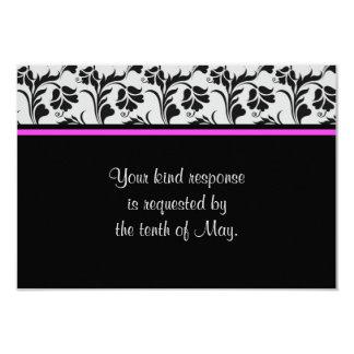 Carte l'épousant florale rose argentée noire de carton d'invitation 8,89 cm x 12,70 cm