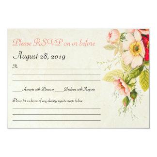 Carte l'épousant florale vintage du bouquet   RSVP Carton D'invitation 8,89 Cm X 12,70 Cm