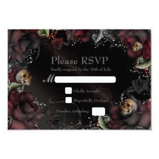 Carte l'épousant gothique noire de roses et de carton d'invitation 8,89 cm x 12,70 cm
