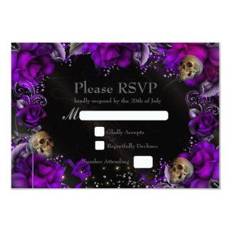 Carte l'épousant gothique pourpre de roses et de carton d'invitation 8,89 cm x 12,70 cm