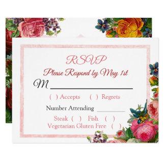 Carte l'épousant rayée florale des roses roses