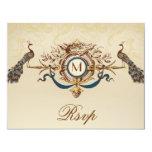 Carte l'épousant vintage du monogramme élégant invitations personnalisées