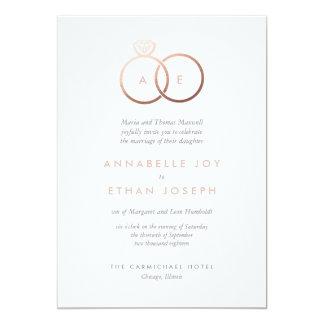 Carte Les anneaux d'or roses modernes rougissent