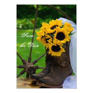 Carte Les bottes de cowboy rustiques de tournesols font