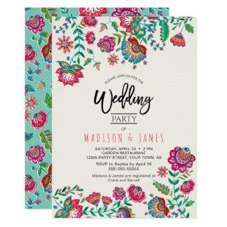 Carte Les gens fleurissent l'invitation chic du mariage
