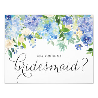 Carte Les hortensias bleus d'aquarelle floraux soient ma