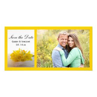 Carte Les jonquilles jaunes sur le mariage blanc font