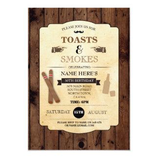 Carte Les pains grillés et fume l'invitation en bois de