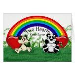 Carte lesbienne gaie vierge d'amour avec des panda