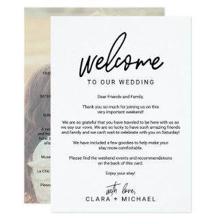 Carte Lettre lunatique d'accueil de mariage de photo de