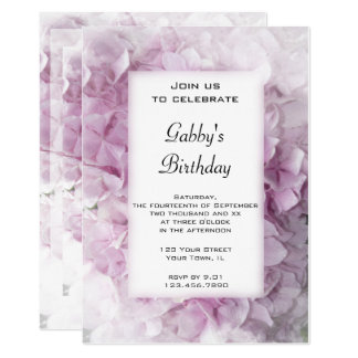 Carte L'hortensia rose fleurit l'invitation de fête