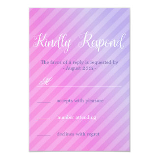 Carte lilas élégante du rose en pastel RSVP