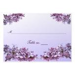 Carte lilas florale d'escorte de mariage carte de visite grand format