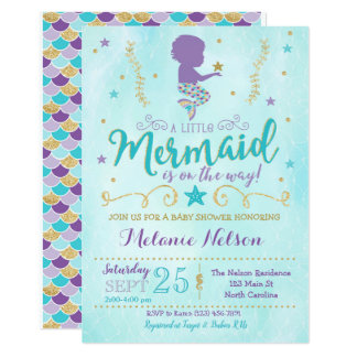 Carte L'invitation de baby shower de sirène arrosent