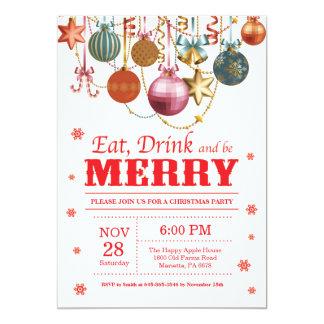 Carte L'invitation de fête de vacances de Noël mangent