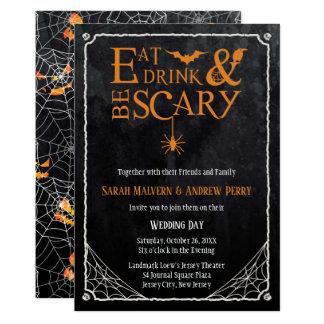 Carte L'invitation de mariage de Halloween mangent,