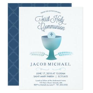Carte L'invitation du premier de sainte communion garçon